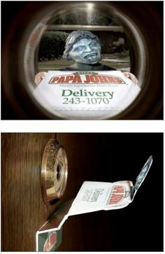 Weeping Angel pizza delivery i would probably pee my pants!