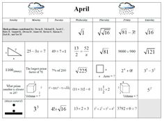 April 2015 Math Calendar: Each date is a math puzzle.