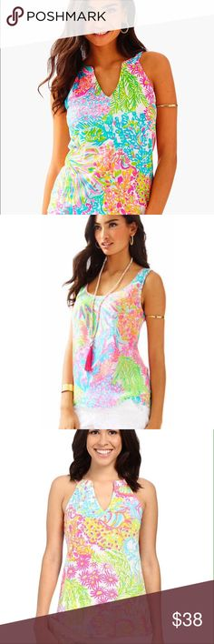 Lilly Pulitzer Arya tank top in multi lovers coral Beautiful Lilly Pulitzer 'Arya' tank, in the print multi lovers coral! Size small. Perfect condition! Only worn one time for a few hours, as I just don't like the way it looks on me. Lilly Pulitzer Tops Tank Tops