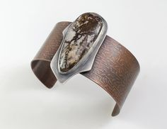 Gyrfalcon - Etched Copper Cuff with Outback Jasper in Sterling Silver Setting, Handmade, One-of-a-kind, Boho Gypsy Jewelry, Brass Jewelry, Sea Glass Jewelry, Stone Jewelry, Sterling Silver Jewelry, Jewellery, 925 Silver, Silver Rings, Copper Cuff
