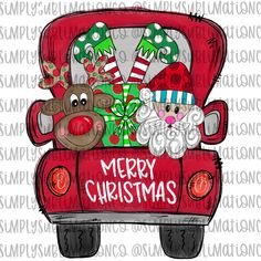 Items similar to MiMi Claus - Sublimation Transfer Ready to Press - Red Christmas Truck Santa Rudolph Design - T-shirt Mug Transfers on Etsy Merry Christmas Sign, Christmas Truck, Red Christmas, Christmas Crafts, Christmas Clipart, Christmas Ideas, Christmas Graphics, Christmas Printables, Christmas Shirts