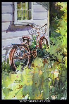 Original watercolor painting of a vintage rusty bicycle leaning against an old home in the tall grass. This artwork was completed by plein air and studio artist, Spencer Meagher. Spencer has a large collection of watercolor, oil and acrylic paintings that make unique Christmas gifts and birthday gifts. Prints available on Fine Art America. #watercolor #christmasgifts #homedecor