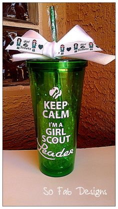 Customized Keep Calm I'm a Girl Scout Leader/Girl Scout, 20 oz, Acrylic,BPA Free, Double walled cup with lid and straw