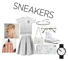 """""""Blondy White"""" by whisperingmadness ❤ liked on Polyvore featuring Converse, Miss Selfridge, Chanel, Skinnydip, Rosendahl, CARAT* London, white, sneakers and whitesneakers"""