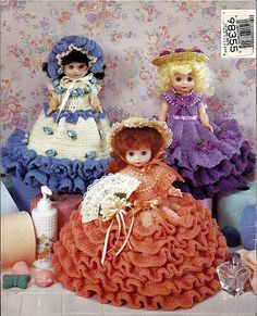 "Crocheted Bathroom Tissue Dolls Crochet Pattern American School of Needlework 1111. Uses 8"" pillow form dolls.  back cover"