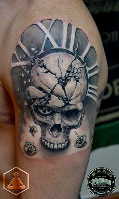 Skull Clock   #zenbenzen #skull #clock #tattoo #3D #realistic #blackandgray