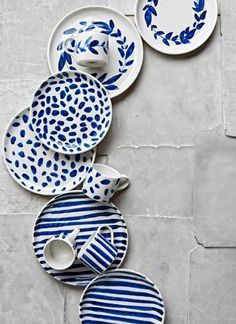 Stunning Handmade Pottery by Robert Gordon - Bright Bazaar by Will Taylor Indigo Brush Stripes Dinnerware - fresh and bright designs for your summer table - mix and match the patterns for best effect. Ceramic Painting, Ceramic Art, Pottery Painting Ideas, Ceramic Plates, Ceramic Pottery, Keramik Design, Handmade Pottery, Pottery Gifts, Blue And White