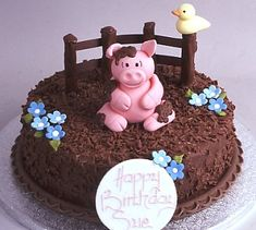 Pig in mud cake! Delicious Cake for everyday Fondant Cakes, Cupcake Cakes, Cake Icing, Pigs In Mud Cake, Pig In Mud, Piggy Cake, Pig Birthday Cakes, Farm Cake, Funny Cake