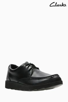 55d1985f3 Boys Clarks Youth Crown Tate Black Leather School Shoe - Black