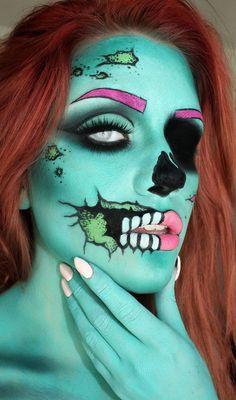 zombie-pop-makeup-2.jpg 600×1,017 pixels Halloween Look, Halloween Makeup Looks, Halloween Cosplay, Halloween Party, Halloween Costumes, Pretty Zombie Makeup, Halloween Halloween, Halloween Fashion, Creepy Makeup