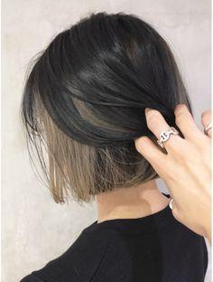 Hidden Hair Color, Two Color Hair, Korean Hair Color, Hair Color Streaks, Hair Dye Colors, Ombre Hair Color, Under Hair Dye, Skunk Hair, Pelo Cafe