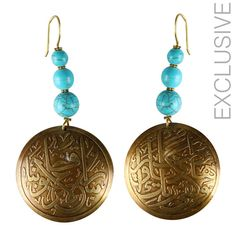 Owning this item will not make you feel very exclusive but also fell good that your helping in creating jobs and preserving such wonderful skills     Handmade   Material: brass and turquoise colored stones   Weight per half: 17.5 grams   Length: 10 cm from top to bottom   Max Radius of lower part : 5 cm (1.96 inch)  $25