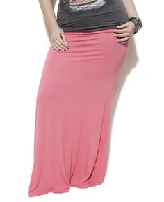 Solid Maxi Skirt in Coral via Wet Seal+