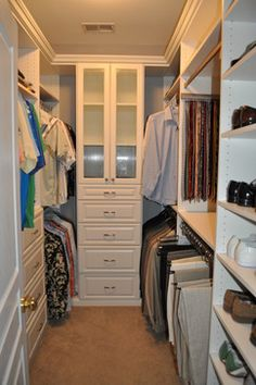 space maximizing solution for small walk in master closet - Master Closet Design Ideas