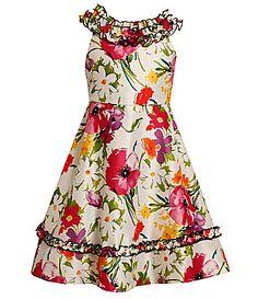 Bonnie Jean 716 Floral Shantung Dress #Dillards