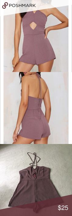 Nast gal Rekha Halter Romper Super cute muave colored romper, I bought it on nasty gal and never wore it because the bottom half was perfect but the top was small on me. When you go to pull the zipper down the seam is coming off a little , but nothing a little sewing can't fix😊❤️ Nasty Gal Other