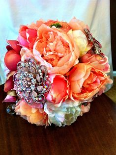 Peonies, Parrot Tulips and Crystal Brooches