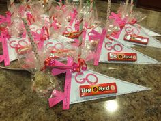 """Go """"Big Red"""" pennant attached to a chocolate dipped rice Krispy treat for Pink Out team spirit snack"""
