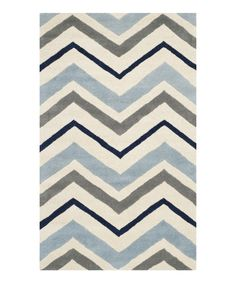 Look at this Ivory & Dark Gray Chevron Pippa Wool Rug on #zulily today!