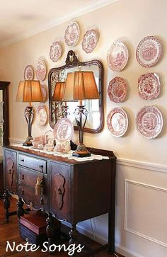 Adorable Dining Room Buffet Design Ideas Suitable For Fall Thanksgiving room design ideas Adorable Dining Room Buffet Design Ideas Suitable For Fall Thanksgiving Plate Wall Decor, Plates On Wall, Mirror Plates, Hanging Plates, French Decor, French Country Decorating, Dining Room Buffet, Dining Set, Dining Table