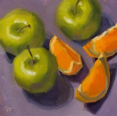"Daily Paintworks - ""Pair of Threes"" - Original Fine Art for Sale - © Sheila Arora Still Life 2, Still Life Fruit, Still Life Drawing, Painting Still Life, Fruit Painting, Mixed Fruit, Fine Art Auctions, Fruit Art, Small Paintings"