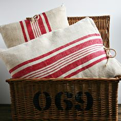 Grain sack inspired linen pillows in a delicious stenciled basket? Diy Pillows, Linen Pillows, Linen Fabric, Cushions, Shabby, Red Cottage, Feed Sacks, Textiles, Grain Sack