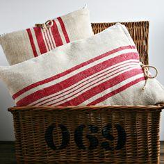 Pair of Pillows from Antique European Grain Sack.. Love this!