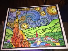 Ashley Lynn Arredondo's entry to our Starry Night contest Van Gogh Art, Night, Artwork, Work Of Art, Auguste Rodin Artwork, Artworks, Illustrators
