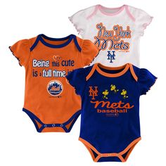 New York Mets Girls 3pk Bodysuit Crawlers