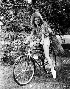 Rita Hayworth...love the bike and hat!
