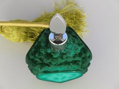 Bohemian Czech Malachite Glass Perfume Bottle Flacon Curt Schlevogt glassworks Ingrid collection Height: 5,1 inches (13 cm) Width: 3,9 inches (10 cm) Very good condition Country of Origin: Czechoslovakia   FEEL FREE TO MESSAGE ME WITH A BEST OFFER!!   #1033