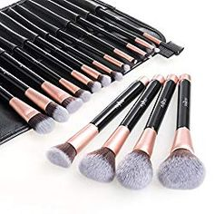 Makeup Brush Set, Anjou Premium Cosmetic Makeup Brushes for Foundation Blending Blush Concealer Eye Shadow, Cruelty-Free Synthetic Fiber Bristles, PU Leather Roll Clutch Included, Rose Golden Eye Makeup Brushes, It Cosmetics Brushes, Makeup Tools, Makeup Cosmetics, Cosmetic Brushes, Eyeshadow Makeup, Contouring Makeup, Beauty Blender, Best Cheap Makeup