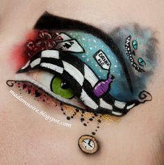 Alice In Wonderland Make-Up Eye Makeup Designs, Eye Makeup Art, Eye Art, Crazy Makeup, Cute Makeup, Mad Hatter Makeup, Alice In Wonderland Makeup, Wonderland Costumes, Chesire Cat