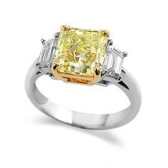 Platinum Radiant Cut Natural Fancy Yellow Diamond Engagement Ring (4.14 Carat Total Weight)