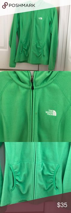 Ladies green The North Face zip up hoodie L Ladies green zip up hoodie THE NORTH FACE. Size large. One small spot/stain near top of zipper. See pics for details. That's the only spot I could see. Otherwise excellent pre owned condition. Very cute and soft. The North Face Jackets & Coats