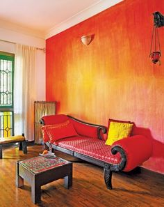 Gorgeous Decorative Red Paint Wall Finish For Indian Interior Design