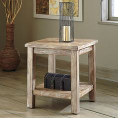 Signature Design By Ashley Rustic Accents Bisque Chair Side End Table - End Tables at Hayneedle Rustic Accent Table, Rustic End Tables, Sofa End Tables, Chair Side Table, Side Tables, Occasional Tables, Coffee Tables, Accent Furniture, Rustic Furniture