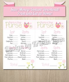 Baby Shower Game, Cute Owl Theme! Only $6 Print As Many As You Want