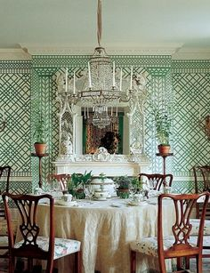 Design Legends: Mark Hampton : Architectural Digest.  Trellis motif reminiscent of classic Elsie de Wolfe design