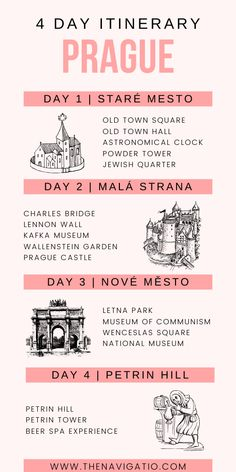 A four day itinerary for Prague, Czech Republic. The best things to do in Prague, broken up into a travel guide which is perfect for first time visitors. Travel to Prague for a wonderful holiday! Prague Travel Guide, Europe Travel Guide, Travelling Tips, Travel List, Budget Travel, Travel Guides, Traveling, Shopping Travel, Italy Travel