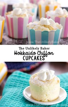 Soft, fluffy chiffon cupcakes filled with delicate whipped cream. Hokkaido chiffon cupcakes are light as air and so delicious!: