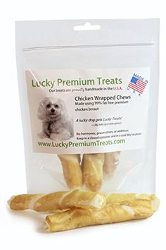 Chicken Wrapped Rawhide Chews for Medium Breed Dogs, Natural Dog Treats Made in USA Only by Lucky Premium Treats, 25 Chews ** You can get additional details at the image link.