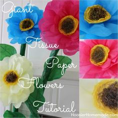 How to make Giant Tissue Paper Flowers - Hoosier Homemade Giant Paper Flowers, Faux Flowers, Diy Flowers, Fabric Flowers, Diy And Crafts, Crafts For Kids, Paper Crafts, Tissue Paper Flowers, Paper Roses
