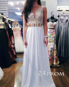 white round neck chiffon sequin long prom dress for teens, white evening dress, modest prom dress long