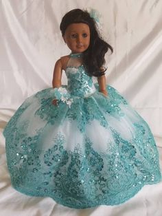 Turquoise Quinceanera's Last Doll Ball Gown with interchangeable neckline. American Girl Doll Costumes, Custom American Girl Dolls, American Girl Doll Pictures, American Doll Clothes, Girl Doll Clothes, Doll Clothes Patterns, Dress Patterns, Ropa American Girl, American Girl Dress
