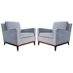 Fabulous Pair of Paul McCobb Lounge Chairs in Gray Velvet | From a unique collection of antique and modern armchairs at…