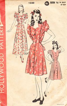 Vintage 1940's Hollywood Pattern No 1240 For by daisyepochvintage, $20.00