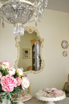 Shabby Chic - love the chandalier, roses