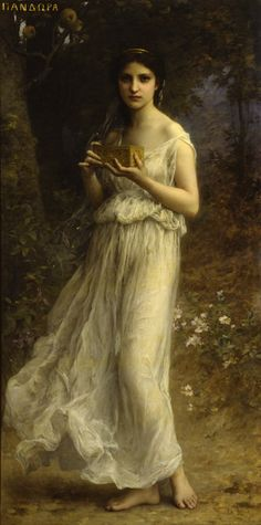 ⊰ Posing with Posies ⊱ paintings of women and flowers - Charles Amable Lenoir: Pandora.