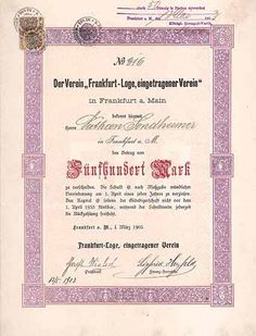 """Schuldverschreibung der """"Frankfurt-Loge e. V."""""""